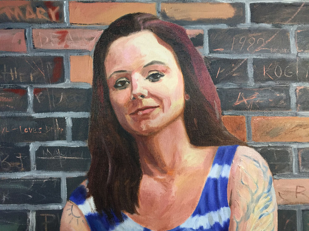 Reed White Mankato artist portrait painting of Kelsey Detail 1